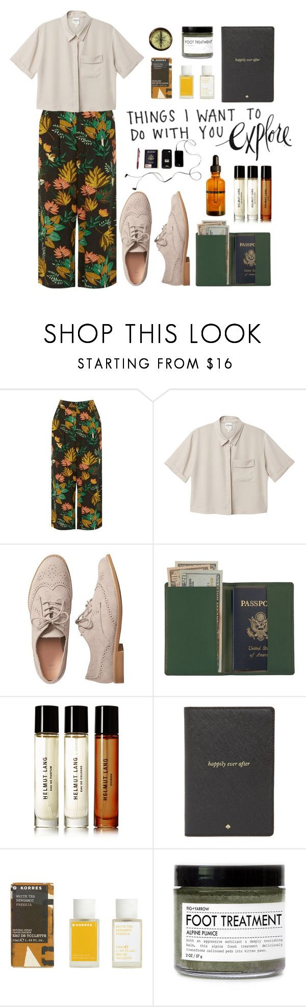 """""""i wanna travel the world"""" by fernweeh on Polyvore featuring moda, Warehouse, Monki, Gap, Royce Leather, INDIE HAIR, Helmut Lang, Kate Spade, Korres i Fig+Yarrow"""