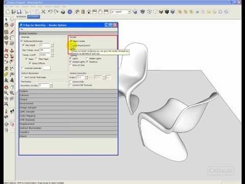 CADaula.com.br - Vray para Sketchup - 3.1- acionando a renderizacao em uma cena simples - YouTube