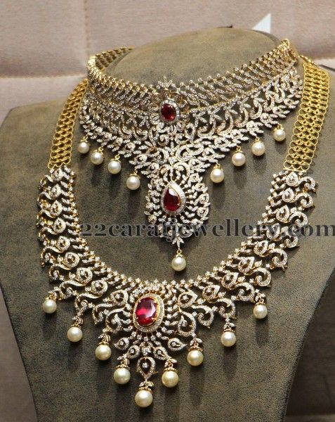 Jewellery Designs: Diamond Bridal Sets by Hiya Jewles