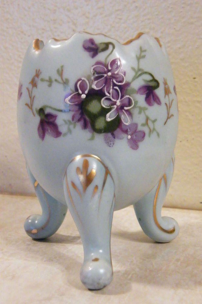 Vintage Egg Shape Porcelain Footed Vase 4 Quot T Purple Violet Flower Easter Spring Violets My