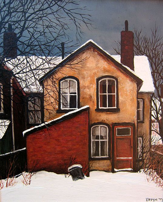Listed Canadian artist John Kasyn (1926-2008) Original Oil Painting Toronto Titled: Back of Lippincott St. It is signed recto and dated 1977, measures 10 x 12 inches.