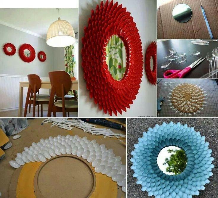 Espejos con cucharas de pl stico manualidades pinterest - Manualidades para decorar el hogar ...