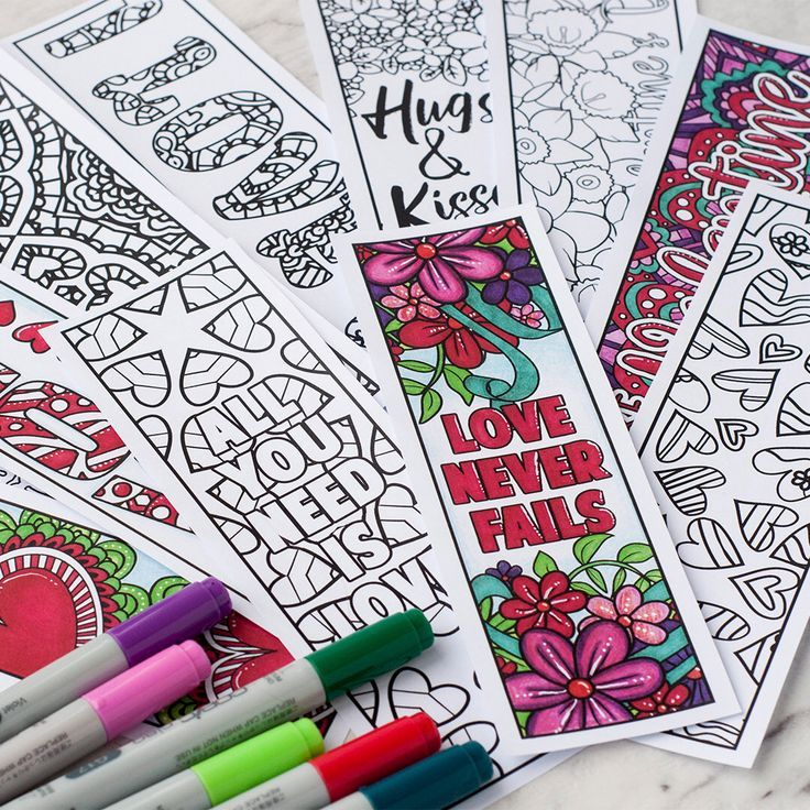 Love Coloring Bookmarks – Set of 12 Printable Bookmarks to color and make for a Valentine's Day Gift | Printable PDF adult coloring template by bySarahRenaeClark on Etsy https://www.etsy.com/uk/listing/495898168/love-coloring-bookmarks-set-of-12