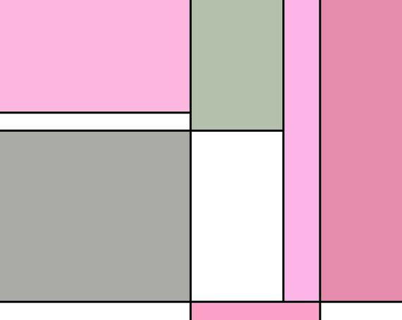 Gray And Pink Mondrian Abstract Wall Art Print.