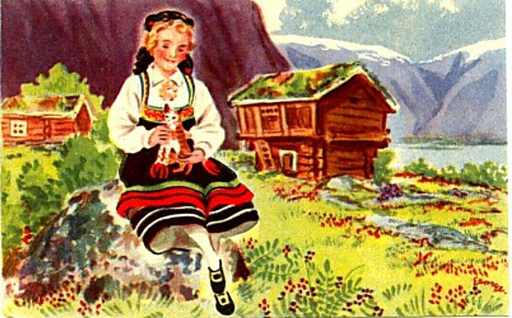 Kort sig. George Schumann - Pike i bunad med katt Norsk Arbeid Serie