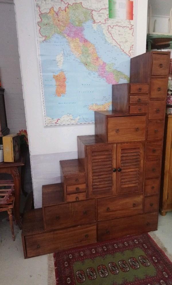 Marktplaats Boekenkast Teak.Ibiza Koloniale Teakhouten Trapkast Roomdivider Kast Kasten
