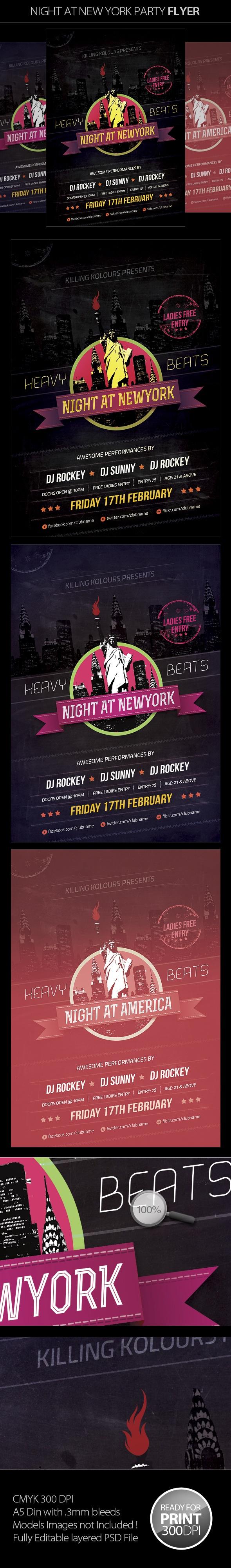 Night at New York Party Flyer by Mahantesh Nagashetty, via Behance