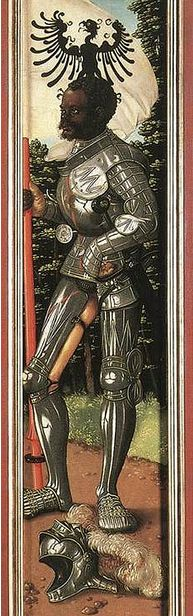 The African Knight Saint Maurice:  16th century German painting showing a black African in European Armour that served as a model for the painting of Saint Maurice.