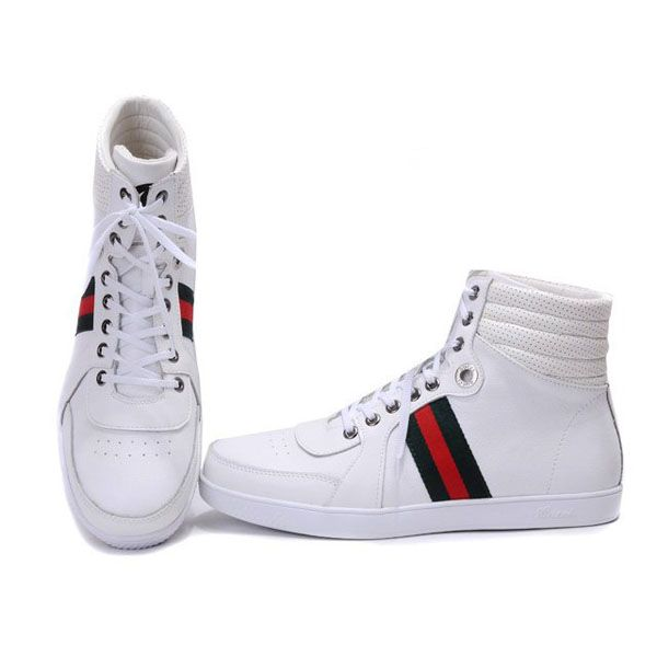 gucci shoes high top white. gucci men\u0027s high top in white red black http://www.luxurydressesbox. shoes