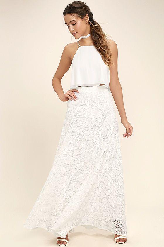 Stunning White Two-Piece Dress - Lace Two-Piece Dress - Two-Piece Maxi Dress - $89.00