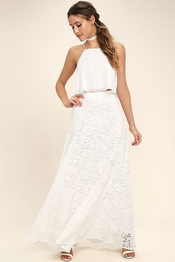 Stunning White Two-Piece Dress - Lace Two-Piece Dress - Two-Piece Maxi Dress - $89.00