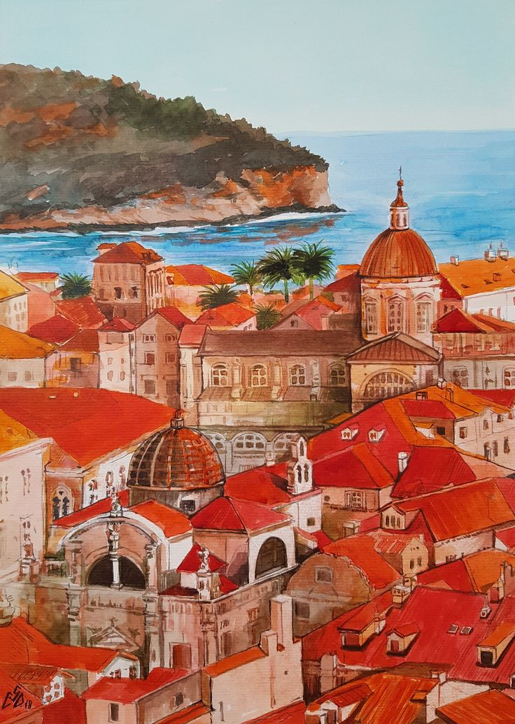 """Old City -Dubrovnik""-Croatia Art by Gabriela Calinoiu"