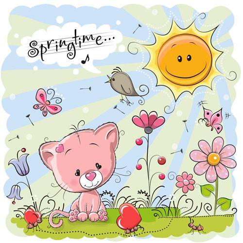 Cartoon springtime postcards cute vector 01