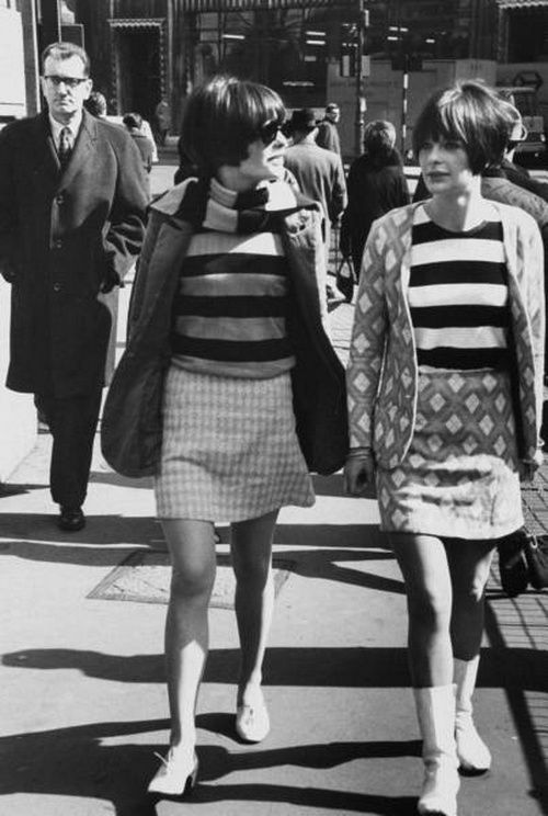 Girls on the street in Swinging London, 1966 vintage fashion style found photo skirts sweater jacket stripes mini shoes 60s
