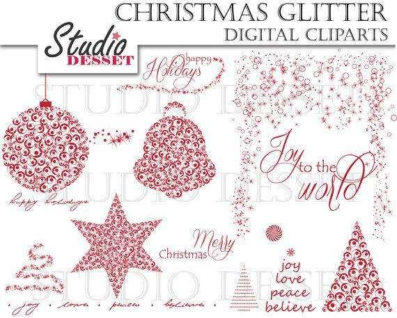 Christmas Cliparts Red Xmas Clip Art and Wordart by StudioDesset, $4.40