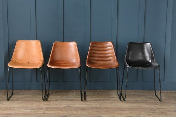 Road House Deluxe Industrial Retro Leather Dining Chairs Honey