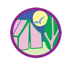 Junior Girl Scout Badge - Camper Badge.  An overnight trip in the great outdoors brings you closer to nature—and to your Girl Scout sisters. In this badge, plan a camping adventure! You might watch a sky full of stars, cook a meal on a stick, or share silly stories around the campfire. And you'll definitely learn some new outdoor skills as you take part in this favorite Girl Scout tradition.