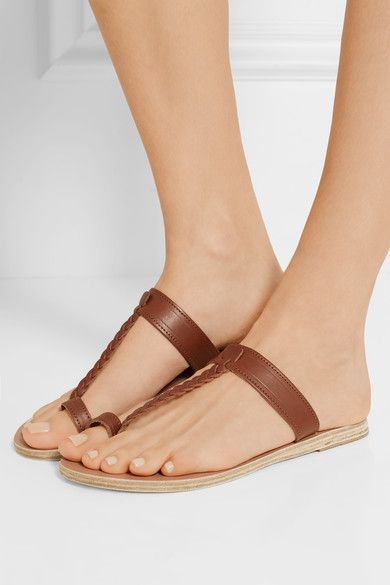 Ancient Greek Sandals - Melpomeni Braided Leather Sandals - Brown - IT37