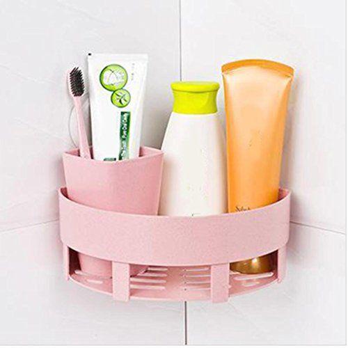 Iusun Plastic Suction Cup Bathroom Kitchen Corner Storage Rack Organizer Shower Shelf Storage Tool Pink Corner Shower Caddy Shower Corner Shelf