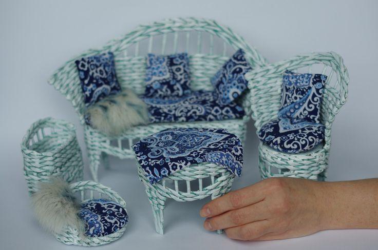 Barbie Doll Wicker Patio Furniture Handmade Set Light Blue Fashion Royalty 1:6. - pinned by pin4etsy.com