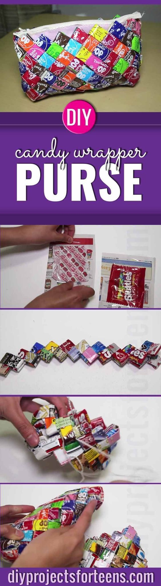 Fun and Easy DIY Crafts are Perfect for Teen Girls and Even Adults. Creative DIY Gift idea, this step by step tutorial and video shows your how to make fun fashion with a homemade candy wrapper purse.