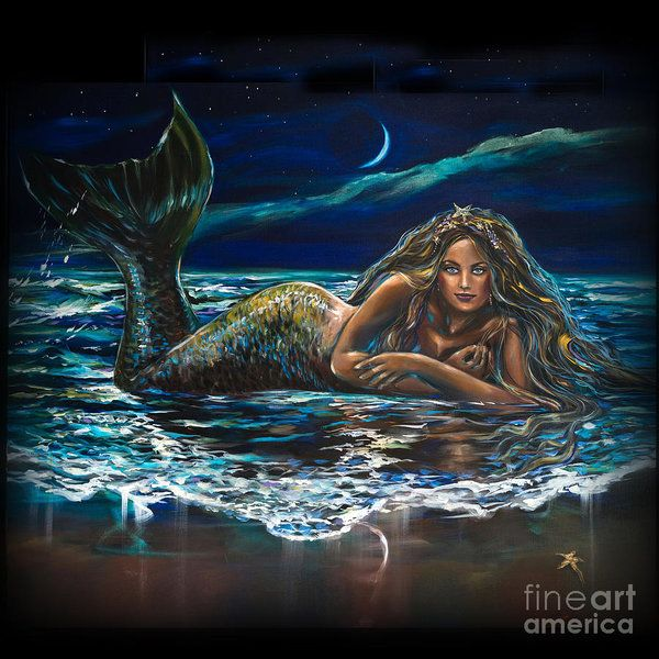 Under A Crescent Moon Mermaid by Linda Olsen