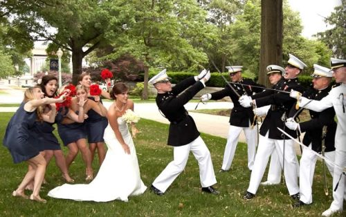 Navy Wedding featured at Going to the Chapel. Photo by F.A. Formica