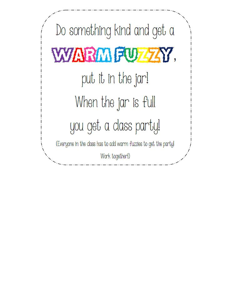 Classroom Rules Ideas ~ Warm fuzzy jar pdf classroom management pinterest
