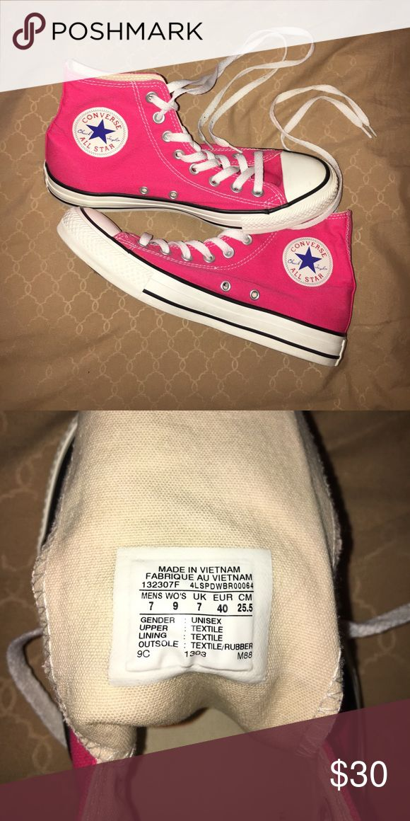 hot pink high top converse Worn once  Converse Shoes Sneakers