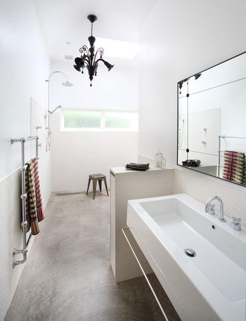 Penny tiles / long basin / concrete floor. Justine Hugh-Jones Design