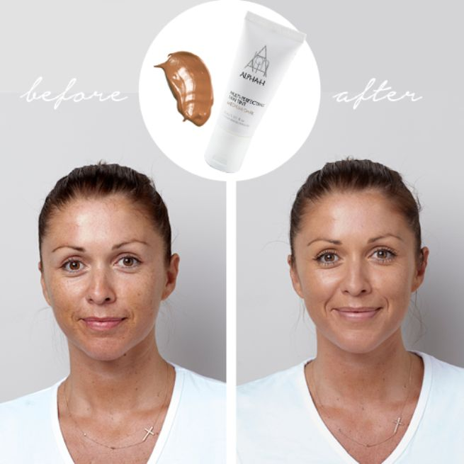 Here is an amazing before and after using our Multi-Perfecting Skin Tint. It is the perfect on-the-go staple that gives you flawless coverage, amazing hydration, and great protection. Available on our website here http://ow.ly/DBoto