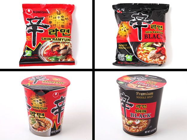 I didn't grow up a ramen prescriptivist, but more often than not my selection landed upon Shin Ramyun, the Korean brand of instant noodles flavored with beef and chili. Its fierce heat and intense saltiness has earned it some serious followers. It's one of the best selling non-Japanese brands around, available in over 80 countries. In 2011, they introduced Shin Black, the premium version of their traditional ramen. We embarked on a taste test to see how they stacked up.
