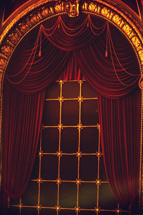 photo print dramatic theater window velvet drapes by