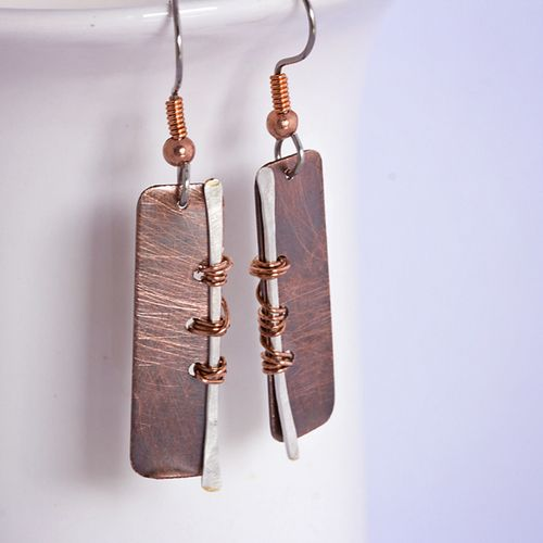 Distinctive copper earrings - in a style that crosses generations | Brushed Copper Earrings with Silver Wire Accent: 'Always Be Yourself' | AU$35