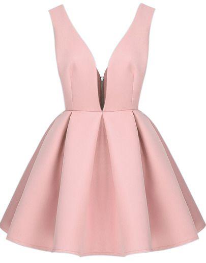 Pink Zippered V Neck Backless Midriff Heart Flare Dress -SheIn(Sheinside) Mobile Site
