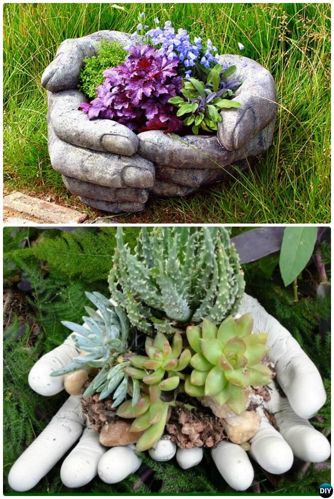 DIY Concrete Cement Hand Cup Planter-20 Colorful Garden Art DIY Decorating Ideas Instructions
