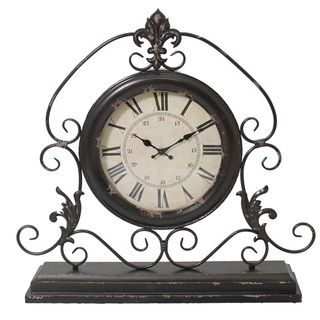 Versailles Scroll Art 23-inch Wide Weathered Metal Tabletop Mantel Clock - Overstock™ Shopping - Great Deals on Casa Cortes Clocks