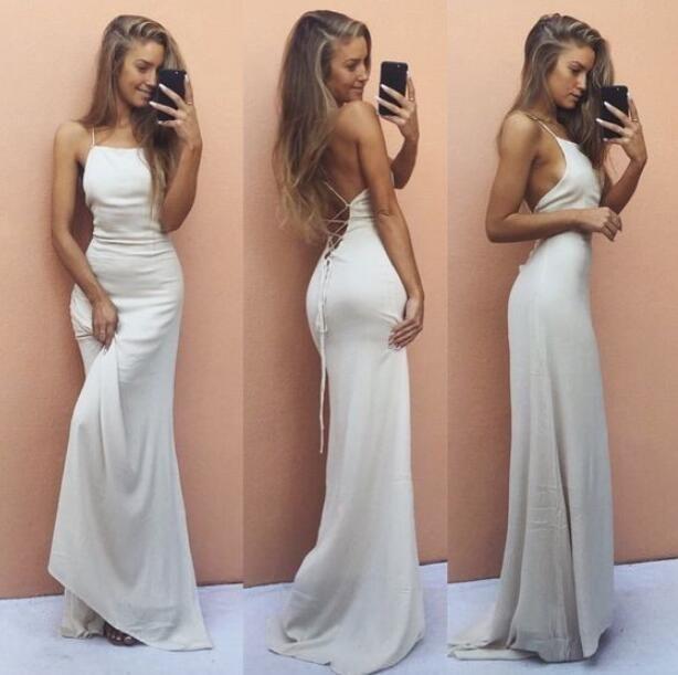 Tie up Halter Ivory Prom Dress ,Sheath Party Dress with Unique Design,Sexy Beach Dress,Maxi Dress