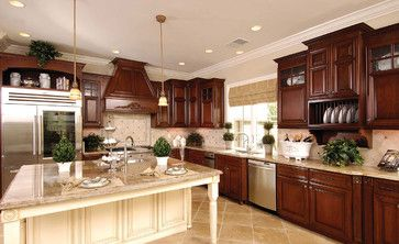 Cherry Kitchen Cabinets With Off White Island Kitchen Ideas - Cherry kitchen cabinets