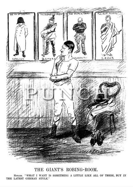 This interesting cartoon from 1932 shows Hitler in his dressing room. Looking at Caesar, Mussolini, Bismark and Napoleon, Hitler deliberates about his style.
