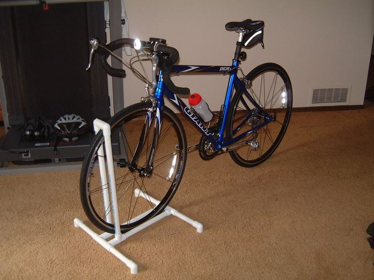 "BIKE RACK~Parts List: All 3/4"" Schedule 40 PVC (2) Wheel Upright - 22 3/4"" (2) Wheel base - 12 1/2"" (4) Base - 7"" (5) Splices - 1 1/4"" (6) Elbows - 90 degree (6) Tees PVC Glue *** Make it a Double, Triple, Etc. Before Gluing add Sand to The Pipe base for weight & support."