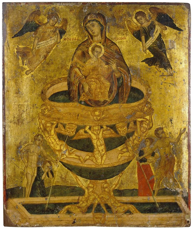 Title:  Icon: The Mother of God the Life-Bearing Source  Place: Byzantium  Date: 17th century  Technique:  panel, with gesso ground, mixed technique and gilding over poliment  Dimensions:  56,2x47,2x2,2 cm
