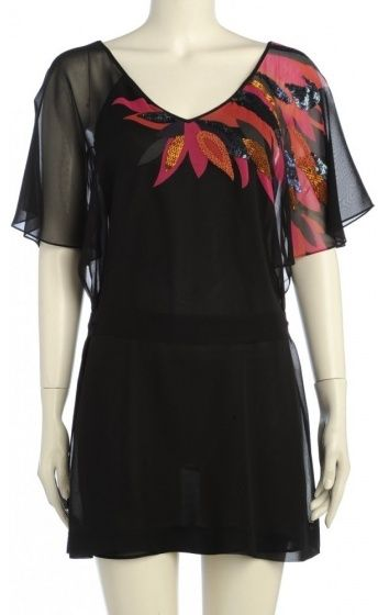 Ted Baker Top, Eulalia Black Silk Tunic Leaf Detail Top on shopstyle.com.au