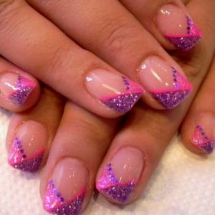 Pink And Purple Sparkle French