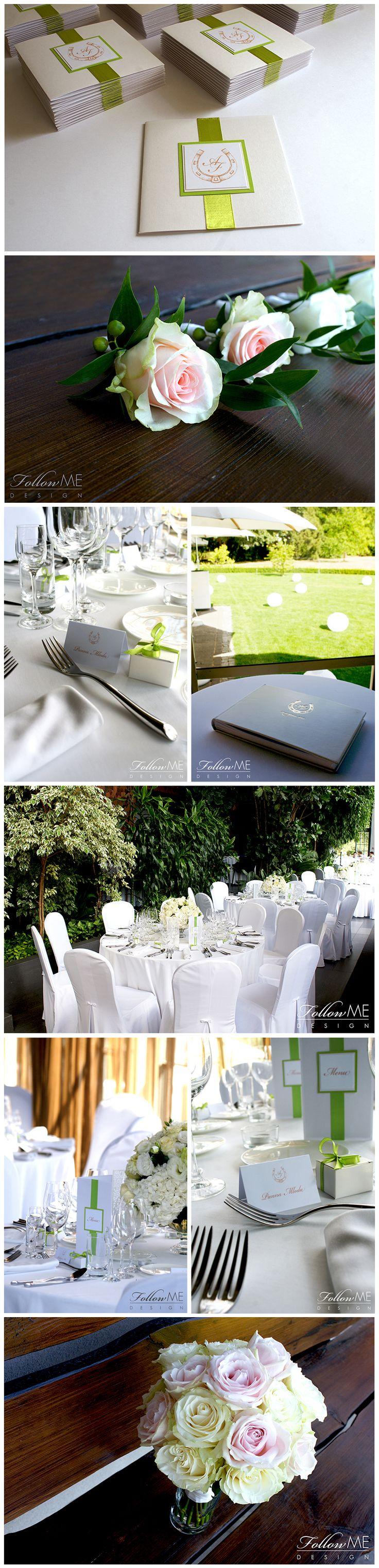 Bukiet ślubny z r³Å¼ Butonierki z r³Å¼ Winietki Karty menu Podziękowanie dla gości Eleganckie białe dekoracje ślubne od FollowMe DESIGN