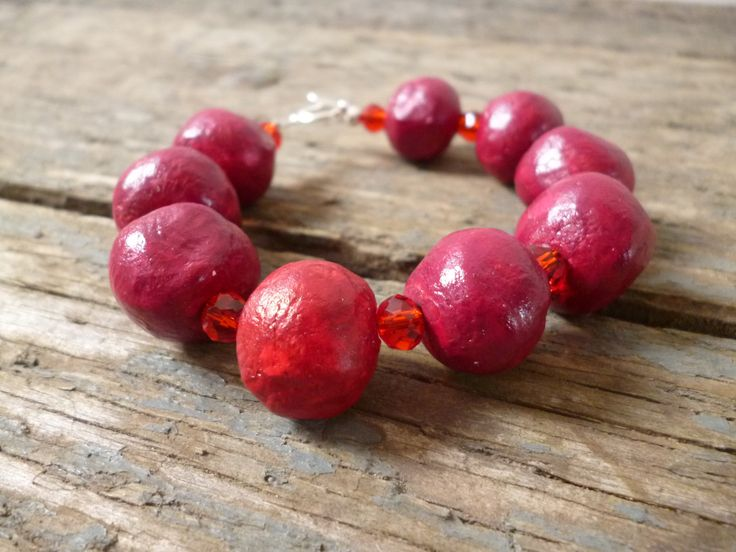 Red clay Bracelet, red bead bracelet, clay beads, handmade red bracelet, red beads, Christmas bracelet, burgundy, birthday gift, by reccabella on Etsy