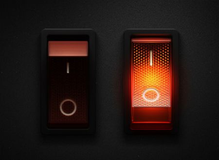 Skeuomorphic lit rocker switch. Very cool. Can't find the source.