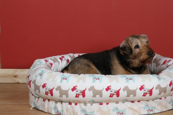 Kip Dog Bed Snuggle Bed in Scotties Taupe/Duckegg fabric
