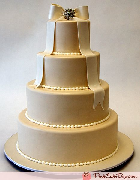 Champagne Wedding Cake with Crystal Brooch