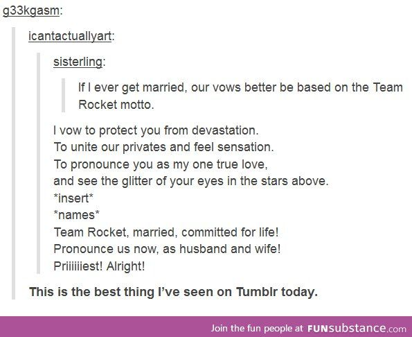 I Love This! Team Rocket Wedding Vows.